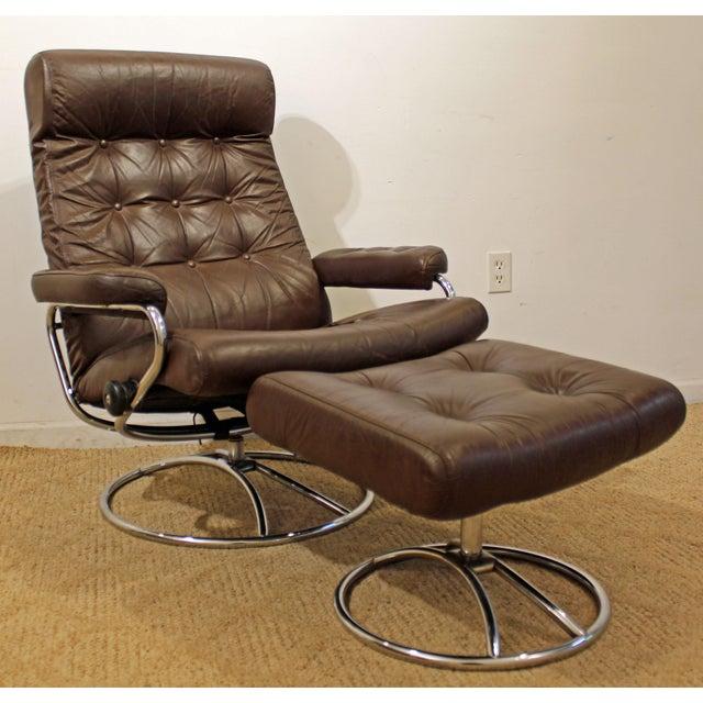 Mid-Century Danish Modern Ekornes Stressless Chrome Lounge Chair/Ottoman For Sale - Image 11 of 11