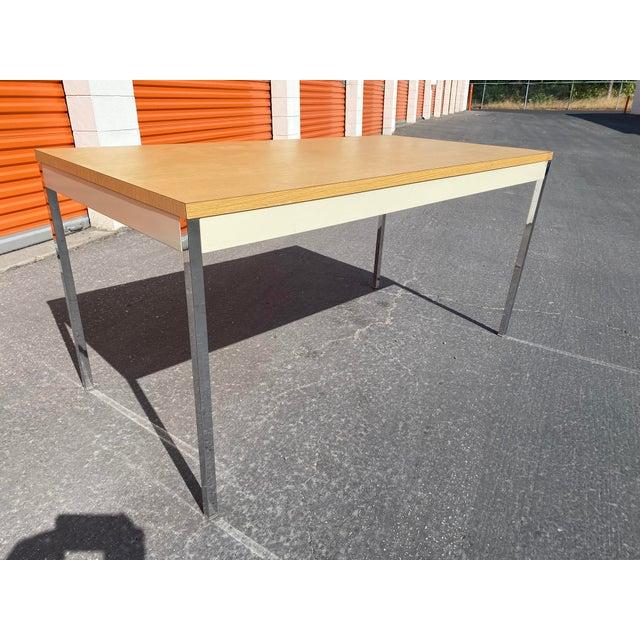 Beige 1980s Vintage Steelcase Metal Writing Desk For Sale - Image 8 of 13