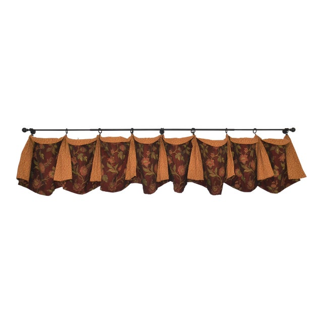 Gold & Red Fabric Valance For Sale