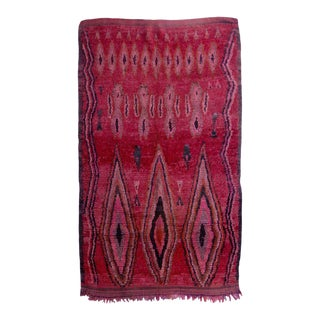Vintage Red Diamond Boujad Rug For Sale