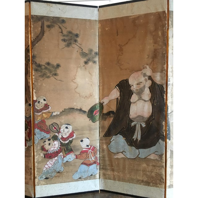 Japanese Edo Period Six Panel Screen: Hotei and Boys, early 19th century For Sale - Image 4 of 8