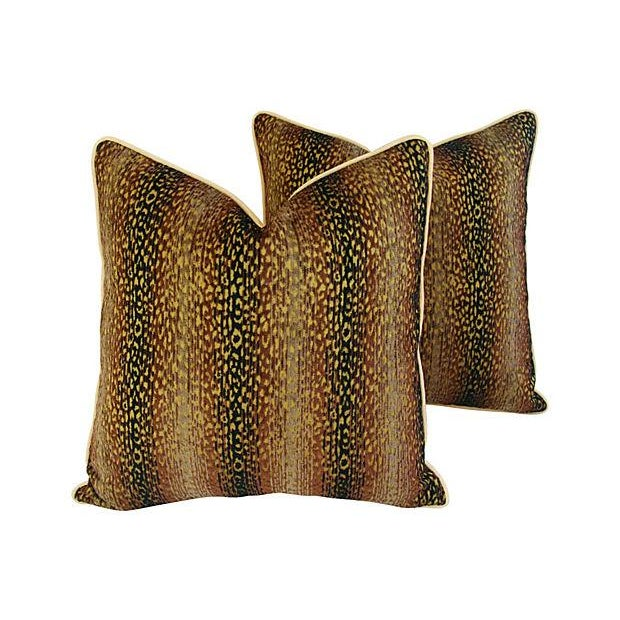 Designer Big Cat Velvet & Chenille Pillows - Pair - Image 3 of 8