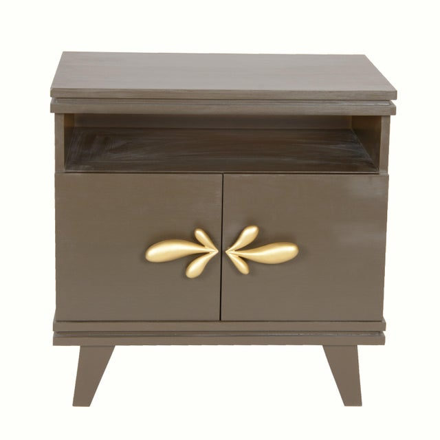 Contemporary Rochelle Nightstand (Slate Gray) For Sale - Image 3 of 3