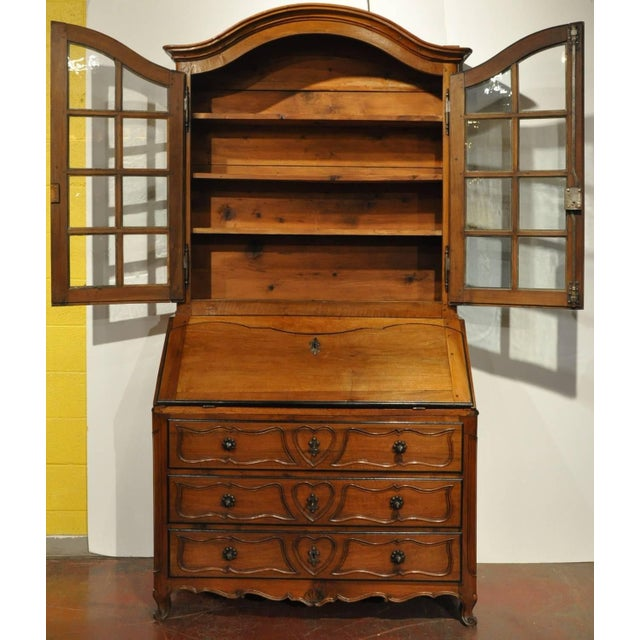 18th Century French Louis XV Carved Walnut Folding Top Secretary Bookcase For Sale - Image 4 of 8