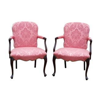 Hickory Chair Company Queen Anne Mahogany Fireside Arm Chairs- A Pair For Sale
