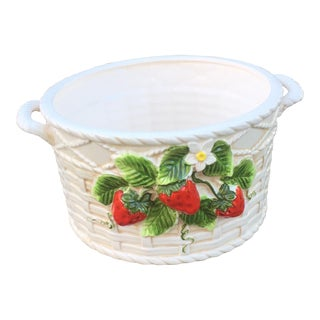 Vintage Strawberry Basket Weave Dish Planter