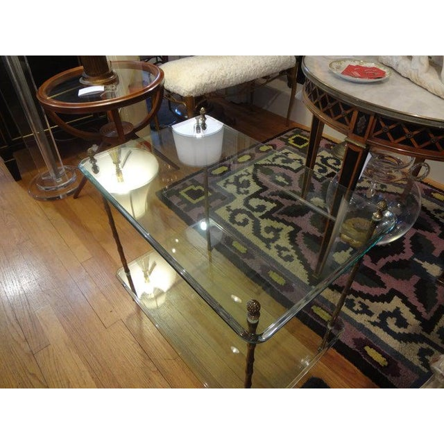 Italian Bronze and Glass Two Tiered Table For Sale - Image 11 of 12