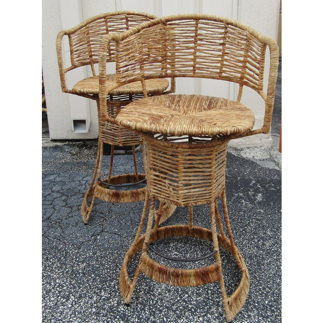Vintage Woven Rattan Bar Stools / Counter Stools - a Pair For Sale In West Palm - Image 6 of 12