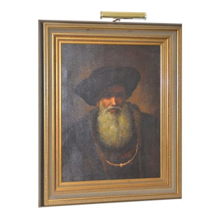 Mid 20th Century Oil Portrait of a Bearded Man After Rembrandt For Sale