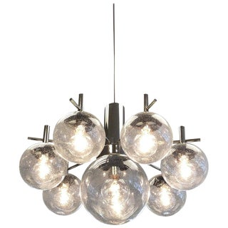 Polish Chrome and Eight Glass Globe Chandelier by Robert Sonemann For Sale