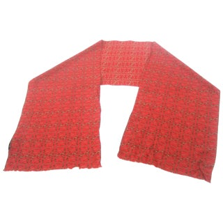 Burberry Red Silk Oblong Scarf, Circa 21st Century For Sale