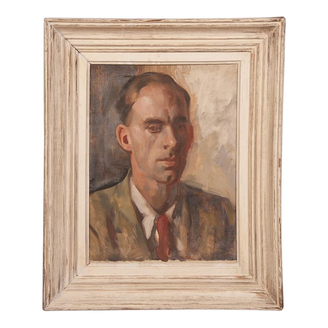 1960s Portrait of Gentleman's Bust English Oil on Canvas Painting by Victor Hume Moody For Sale