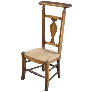 Prayer Chair Religious Rattan Walnut Wood French For Sale