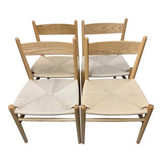 Vintage Hans Wegner Style Dining Chairs- Set of 4 For Sale