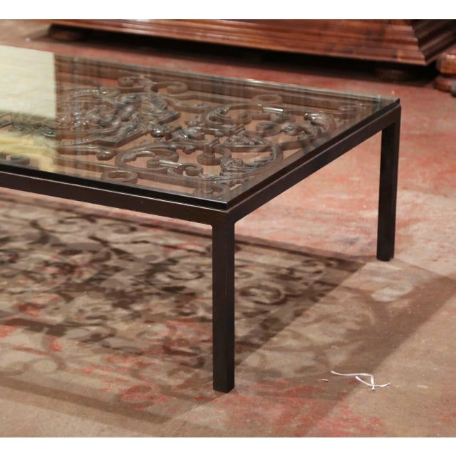 Mid 18th Century 18th Century French Forged Iron Balcony Gate Coffee Table With Glass Top For Sale - Image 5 of 7