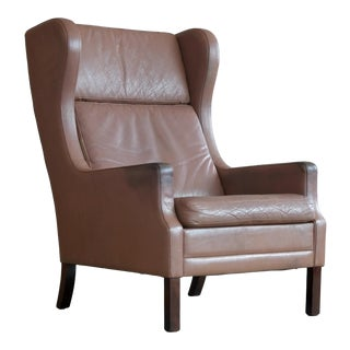 Borge Mogensen Style Leather Wingback Chair For Sale