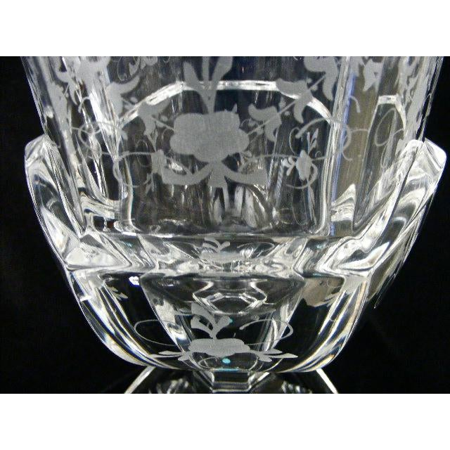 Tiffany Co Etched Floral Crystal Pedestal Vases A Pair Chairish