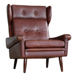 Sven Skipper High Back Winged Arm or Lounge Chair in Chestnut Brown Leather For Sale