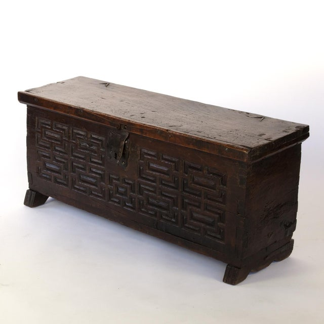Baroque Period Spanish Walnut Coffer With Geometric Carved Front and Original Hardware; Spain, Circa 1650. For Sale In San Francisco - Image 6 of 10