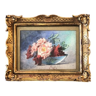 Original Vintage Miniature Still Life With Roses Watercolor Painting Original French Frame 1930's Signed For Sale