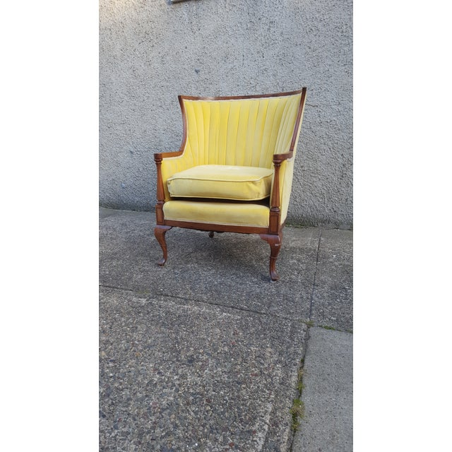 Antique Canary Yellow Velvet Armchair - Image 4 of 6