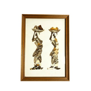 1970s Vintage African Women Framed Butterfly Wing Art For Sale