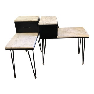 Mid-Century Modern Side Tables With Drawer and Marble Tops For Sale