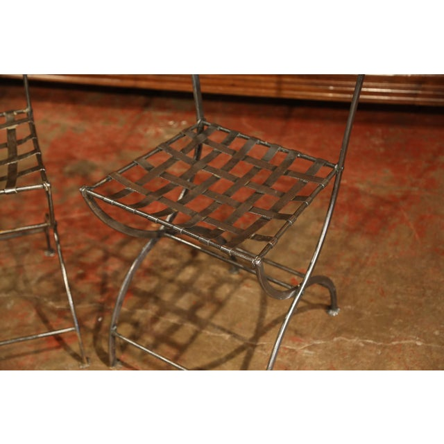 19th Century French Polished Iron Bistro Chairs From Paris - a Pair For Sale - Image 4 of 11