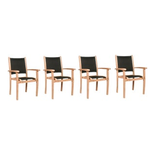 Pearl Stacking Teak Outdoor Dining Armchair in Black (Set of 4) For Sale
