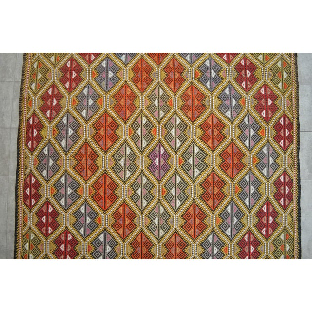 Vintage Turkish Kilim Rug Hand Woven Braided Jajim Rug - 66″ X 116″ For Sale In Raleigh - Image 6 of 10