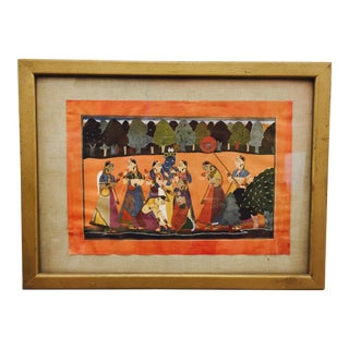 Vintage Framed Indian Print For Sale