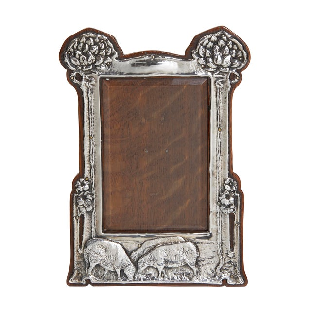 Pair of Art Nouveau Sterling Silver Pastoral Scene Picture Frames For Sale