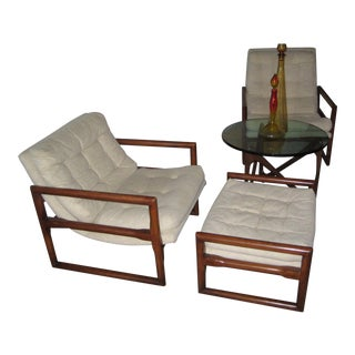 Milo Baughman MidCentury Cube Chairs & Ottoman - Set of 3 For Sale