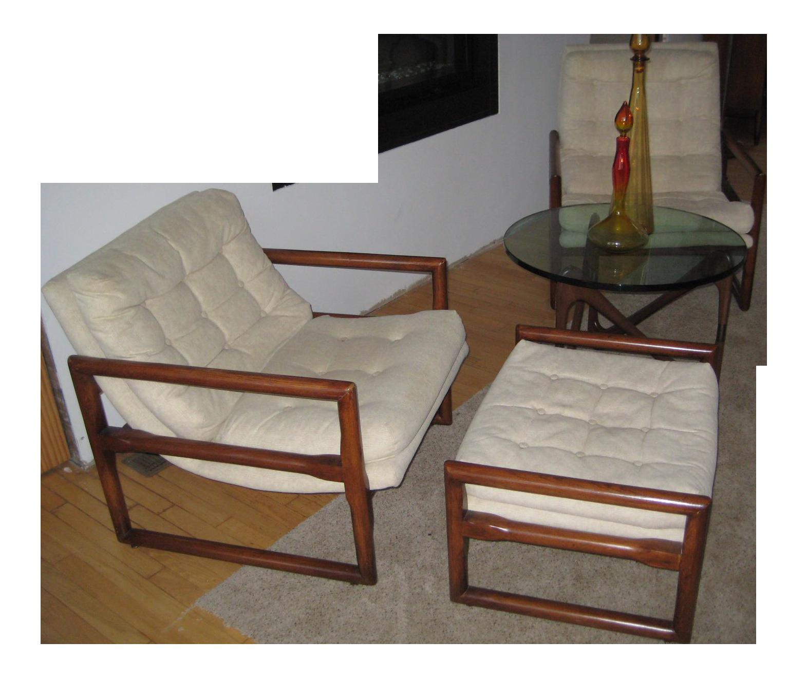 Milo Baughman MidCentury Cube Chairs U0026 Ottoman   Set Of 3