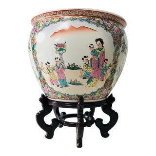 Vintage Qing Dynasty Famille Rose Chinese Fish Bowl With Stand For Sale