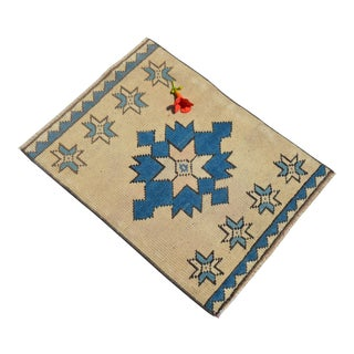 Hand Knotted Low Pile Turkish Small Rug Distressed Mat Bath Rug - 20'' X 27'' For Sale