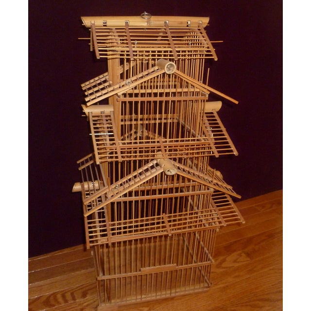 1970s Bamboo Wood Bird Cage For Sale - Image 7 of 8