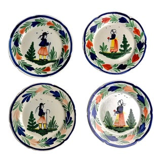 1920s Early 20th Century French Quimper Pottery Salad Plates - Set of 4 For Sale