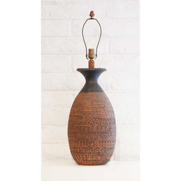 1950s Incised Pottery Lamp For Sale - Image 5 of 8