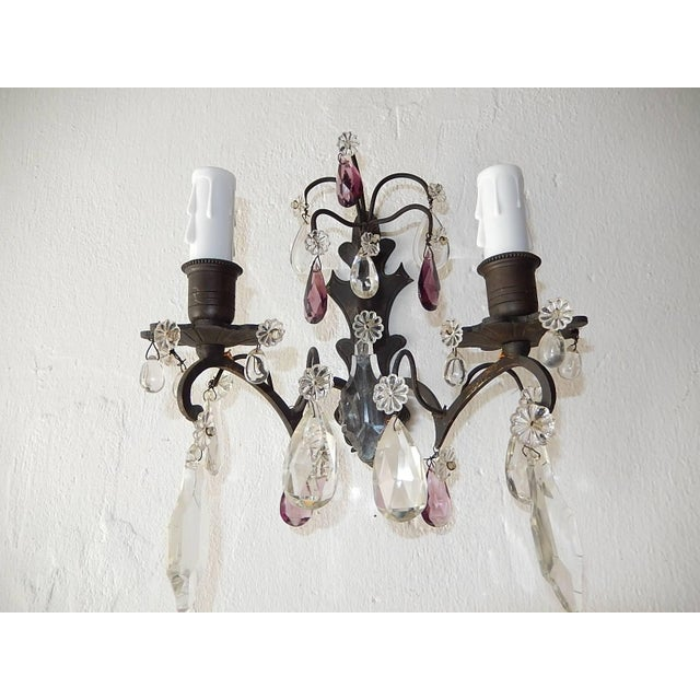 Gold French Burnished Brass Amethyst and Clear Crystal Prisms Sconces For Sale - Image 8 of 11