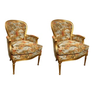 Mark Hampton for Hickory Chair Louis XV Gold Leaf Finished Chinoiserie Print Berger Chairs Pair For Sale