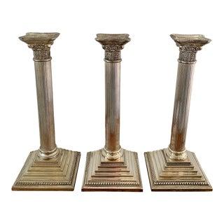 Vintage Silver Corinthian Column Candlesticks, a Set of 3 For Sale