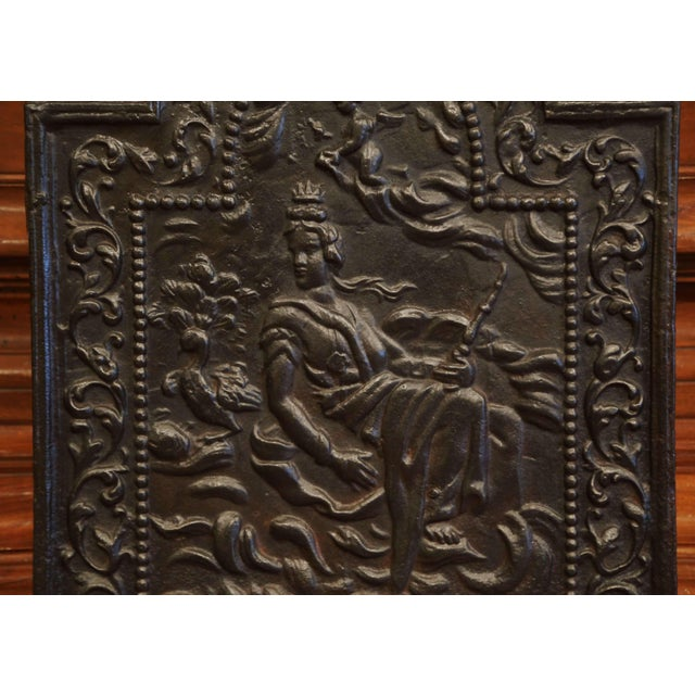 19th Century French Louis XV Polished Iron Fire Back With Goddess and Dolphins For Sale In Dallas - Image 6 of 8