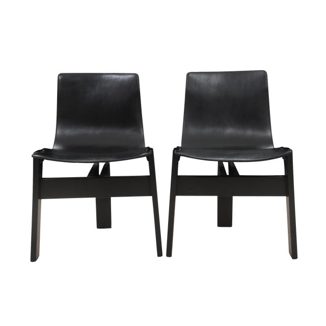 Mid-Century Leather Sling T Chairs - A Pair - Image 1 of 5