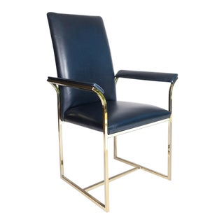 Milo Baughman Blue Leather Chair For Sale