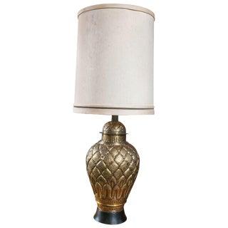 1960s Vintage Brass Ginger Jar Lamp For Sale