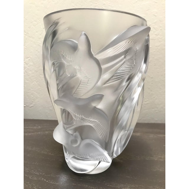 Lalique France Art Glass Martinets Vase Signed Frosted Raised