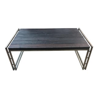 Industrial Sagewood Blackened Rectangular Cocktail Table For Sale