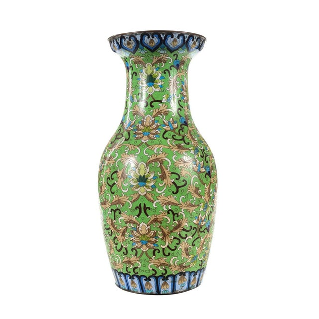 Asian Antique Chinese Green Cloisonné Vases - a Pair For Sale - Image 3 of 9