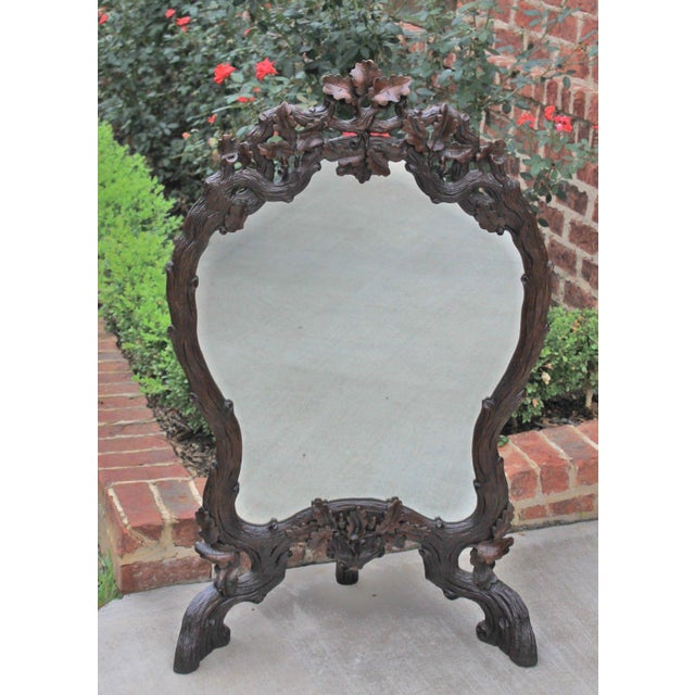 Antique French Oak Black Forest Framed Wall or Easel Standing Mirror Firescreen For Sale - Image 12 of 13
